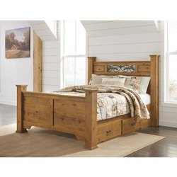 Teak Wood Brown Designer Wooden Bed, Size: 6x6 Feet
