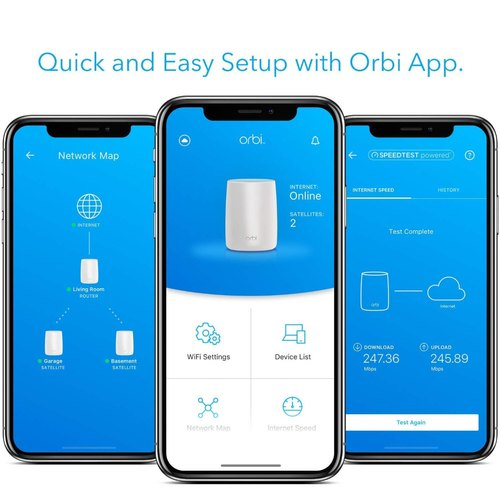 Netgear Orbi Rbk20-100ins Tri-Band Router Home Wi-Fi System