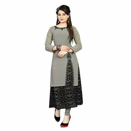Grey Georgette Ladies Designer Kurtis