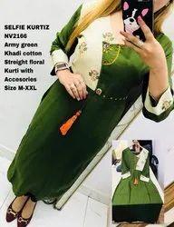 NV 2166 Army Green Khadi Cotton Straight Floral Kurti