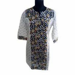 Cotton Casual Wear Ladies Printed Kurti, Size: S-XXXL