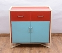 Wood Iron Side Table Storage Cabinet