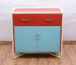 Red & Blue Natural Fibres Wood Iron Side Table Storage Cabinet
