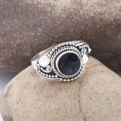 Faceted Sapphire Gemstone 925 Sterling Silver Ring Jewelry