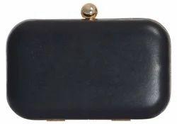 Azzra Black Genuine Leather Party Box Clutch