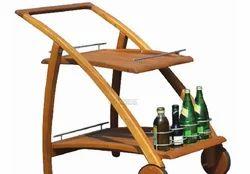 Tezerac Alencon Solid Wood Bar Trolley