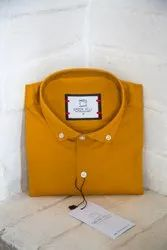 Mens Mustard Solid Casual Shirt