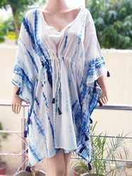 Free Size Hand Block Floral Printed Cotton Kaftan Indian Poncho Caftan