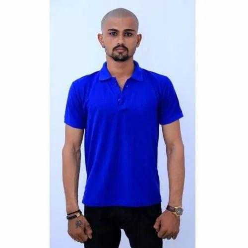 Mens Blue Half Sleeve Plain T-Shirt