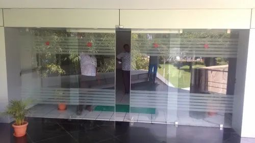 Frameless Automatic Sliding Glass Door For Office Thickness 12mm Rs 95000 Unit Id 21125705830