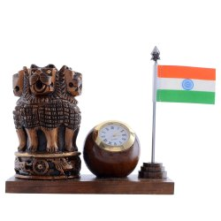 mk handicraft Hadmed Wooden Ashoka Pen Holder Watch and Flag Antique, For Office, Size/Dimension: 2.5*5.5*4 Inch