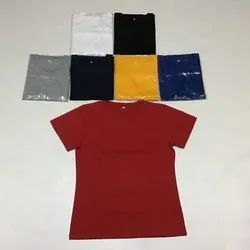 Half Sleeve Female Plain Round neck Cotton T Shirt, Packaging Type: Single Cover Packing