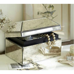 Rectangular Plain Mirror Glass Jewellery Box