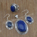 Designer Lapis Lazuli Gemstone Fancy Jewelry Silver Set