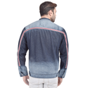 Skupar Ripped Full Sleeve Men Denim Jacket With Stripes