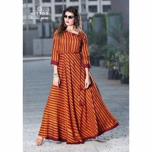 453ead8507 Ladies Striped Long Anarkali Kurti, Size: M To XXL, Rs 4800 /set ...