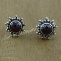 Garnet Gemstone 925 Sterling Silver Jewelry Stud Earring