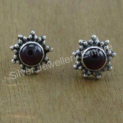Garnet Gemstone 925 Sterling Silver Jewelry Stud Earring