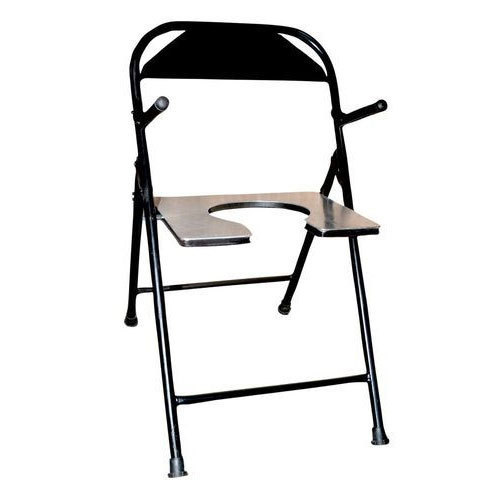 Black Steel Folding Commode Chair