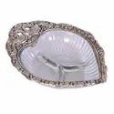 Oxidize Metal Designer Glass Paan Plate