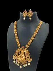Matte Finish Temple Jewellery Set