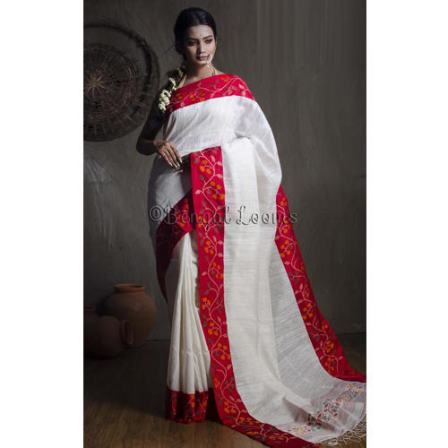 06f2108857 Product Image. Premium Quality Handwoven Tussar Saree with Woven Jamdani  Silk Border in White and Red