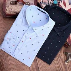 Cotton Collar Neck  Print Shirt, Size: S to XL