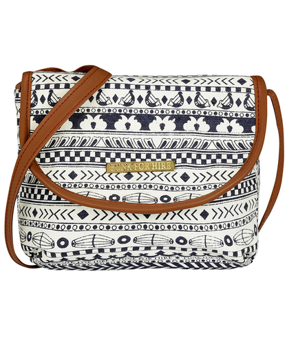 84e07fe44994 Funk For Hire White Bag With Choclate Brown Piping And Black Print women  printed white and