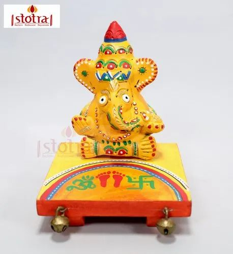 Handcrafted Terracotta Ganesha with Wooden Chowki