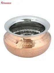 Copper / Stainless Steel Punjabi Serving Handi  (400 Ml)