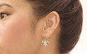 24k Gold Plated Artificial Diamond Floral Dangling Earring