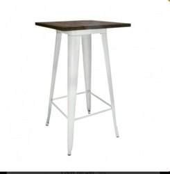 Samarth Powder Coated Metal Frame Table, for Restaurant, Size: 60cm X 60cm X 105cm