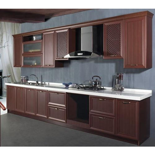 Pvc Modular Kitchen Manufacturer From: Brown Classical PVC Kitchen Cabinets, Rs 750 /square Feet