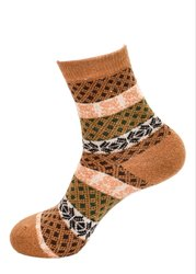 Ladies Printed Mustard Woolen Socks
