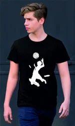 Round Neck Printed Men''S Football Cotton T-Shirt