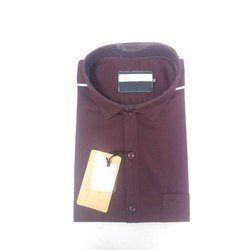 Full Sleeves Mens Maroon Plain Cotton Shirt, Size: S-XXL