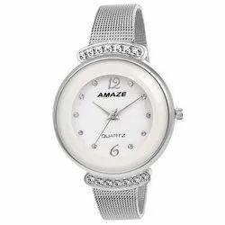 Round Amaze Ladies Silver Chain Fashion Wrist Watch
