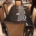 Manhattan 80 Cm 6 Seater Dining Table, Material: Wood And Velvet