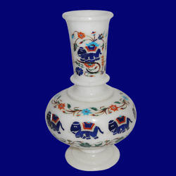 Marble Flowers Pot With Inlay Work