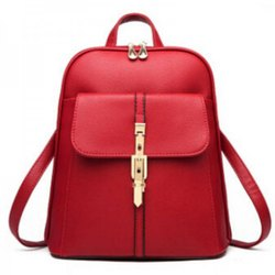 Leather Ladies Red Backpack