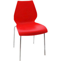 Red Plastic Stylish Cafeteria Chair