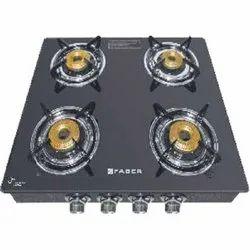 Black Faber 4BB BK Cooktop, Size: 585 X 500 X 55 Mm (l X W X H), Model Name/Number: Splendor 4bb Bk