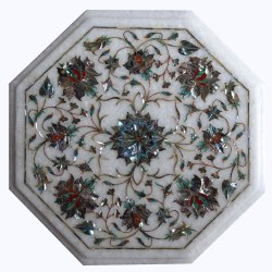 Marble Table top with Semi Precious Stone Inlay wo