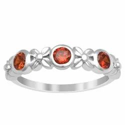 Solid 925 Sterling Silver Red Cubic Zirconia Women Wedding Stacking Ring