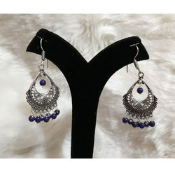 Oxidized German Silver With Blue Jhumka