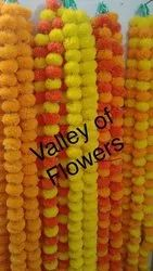 Assorted Polythene Valley of Flowers Artificial Marigold Flowers String, For Decorations