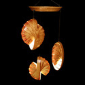 Multiple Wooden Hanging Conical Lamps