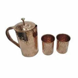 Aakriti Hammered Copper Jug Set