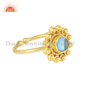 Floral Design Gold Plated 925 Silver Blue Topaz Gemstone Ring Jewelry