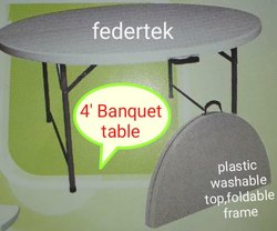 Federtek White Banquet Table, For Events,Restaurant Etc, Size: 4'